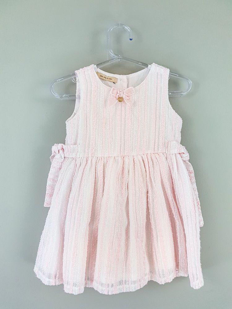 Vestido branco rosa laço veludo Um Mais Um tam 1