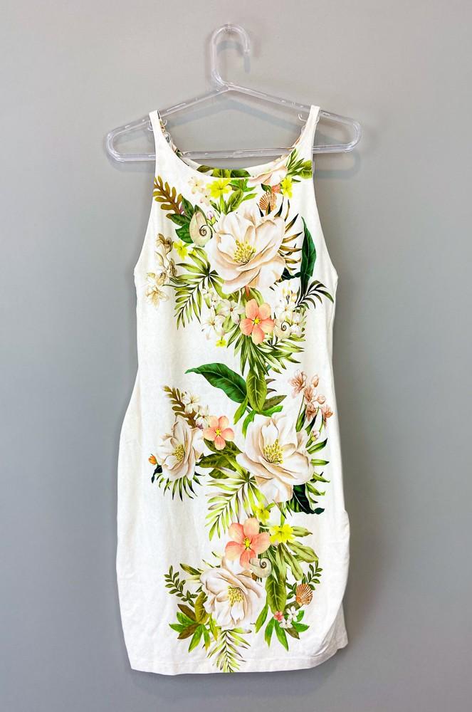 Vestido bege estampa floral Farm tam M
