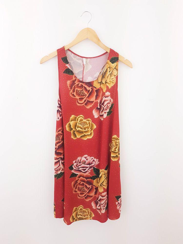 Vestido cavado vermelho flores Lez a Lez tam G