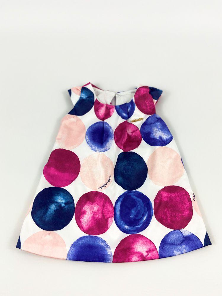 Vestido cetim branco bolas azuis e rosas Lilica Ripilica tam 3/6m