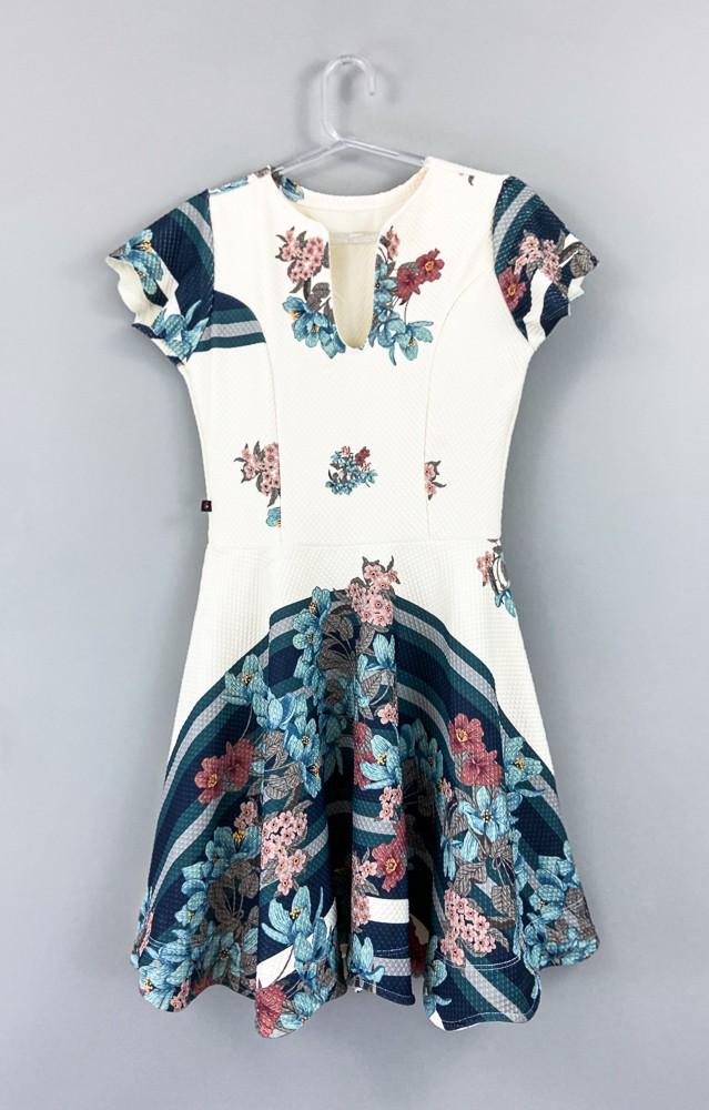 Vestido creme estampa floral Nina Bella tam M