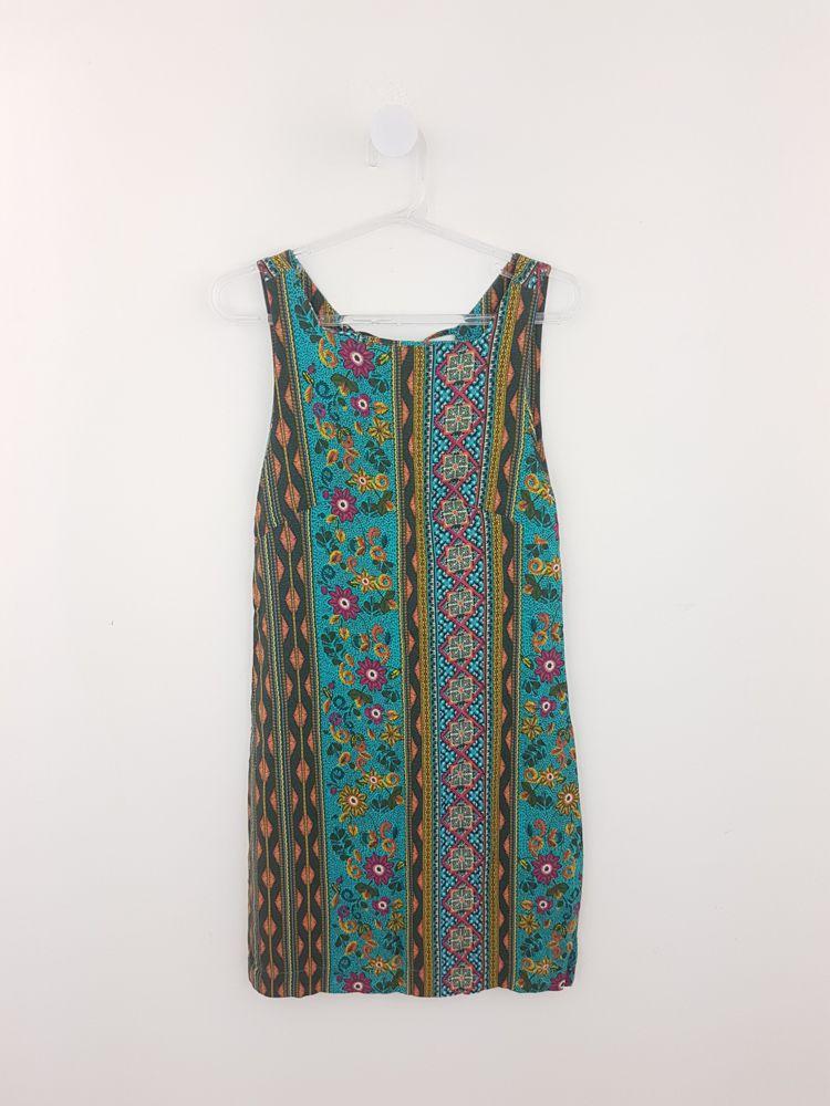 Vestido estampa étnica azul/rosa/laranja Farm tam P