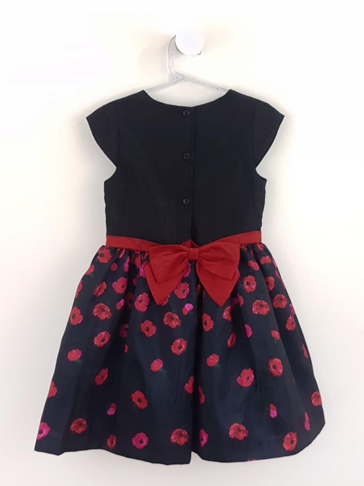 Vestido festa preto estampa floral amarração Gymboree tam 5