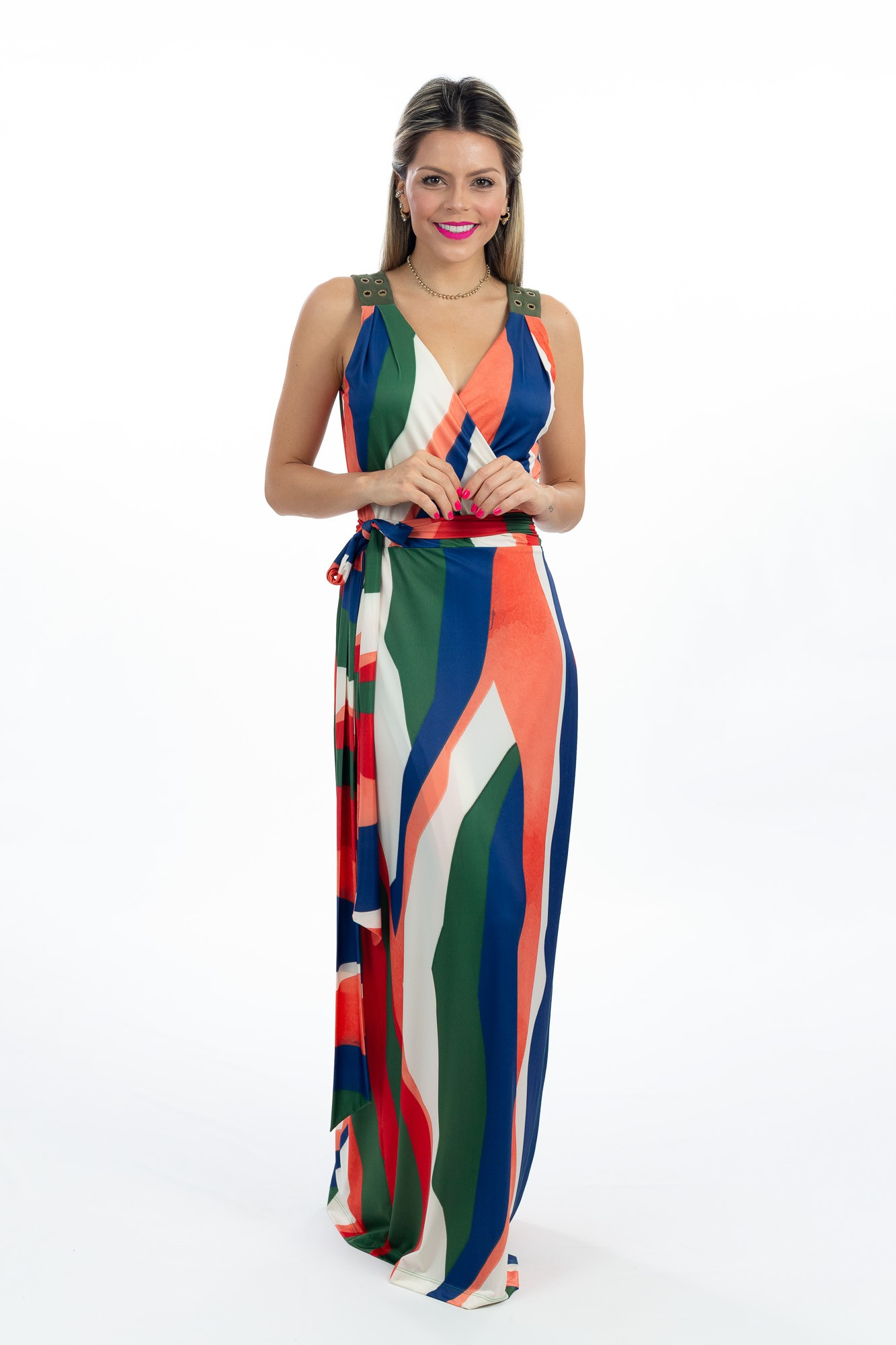 Vestido jersey transpassado estampa colorida Alphorria tam 42