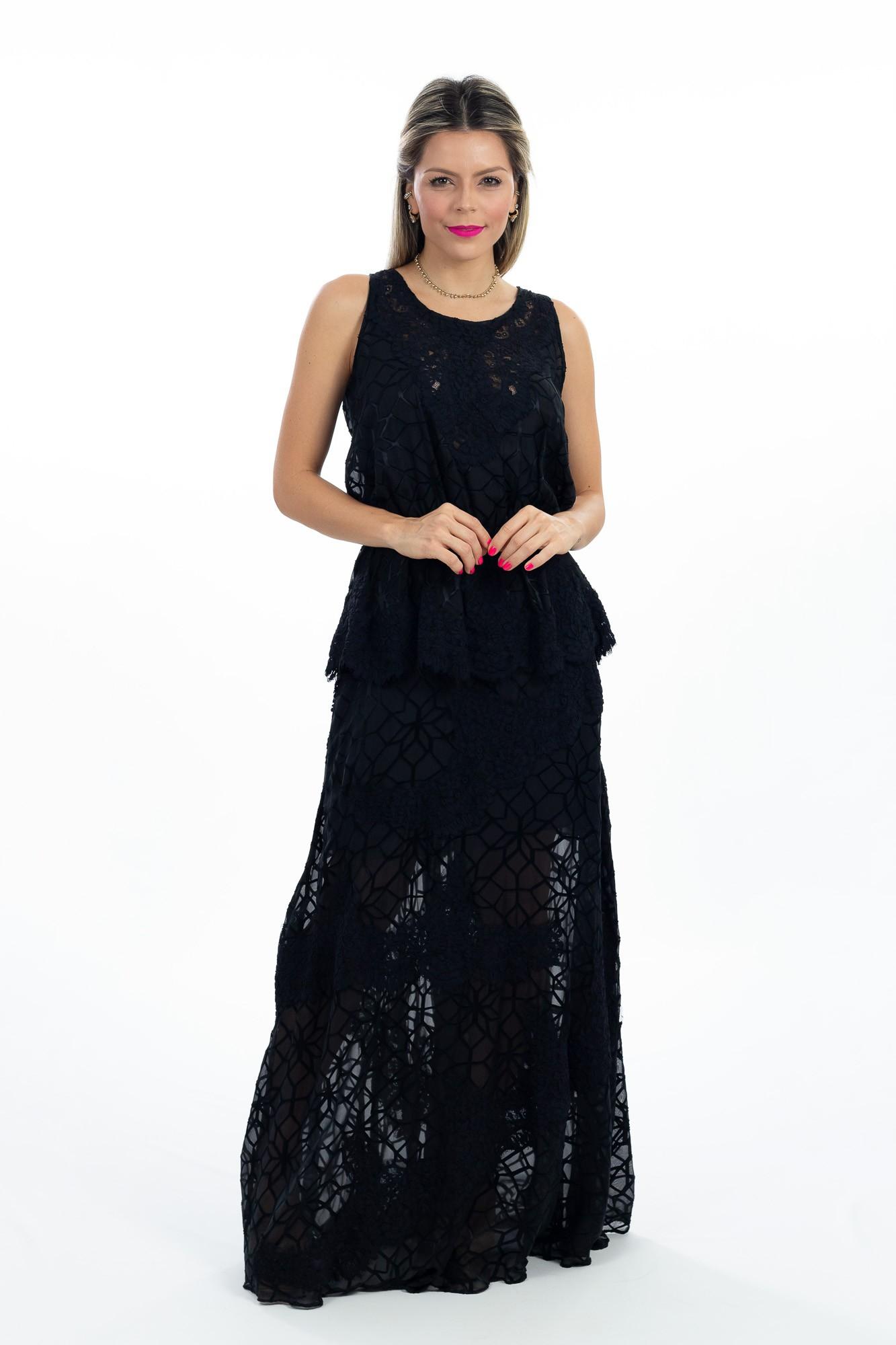 Vestido longo preto detalhe babado Essenciale E.Store tam P