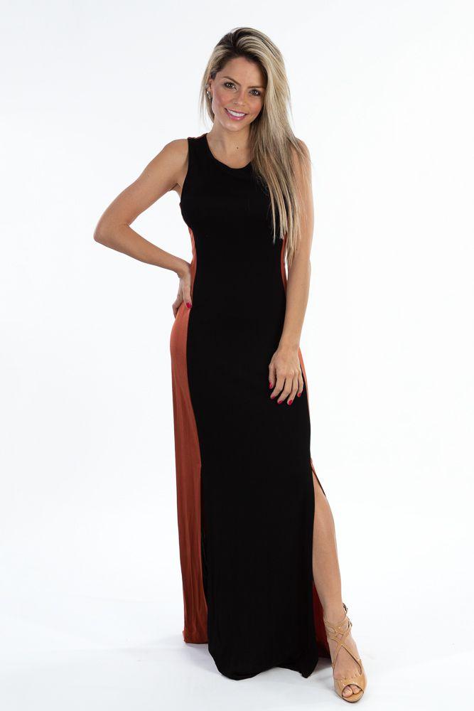 Vestido longo preto viés marrom Maria Filó tam G