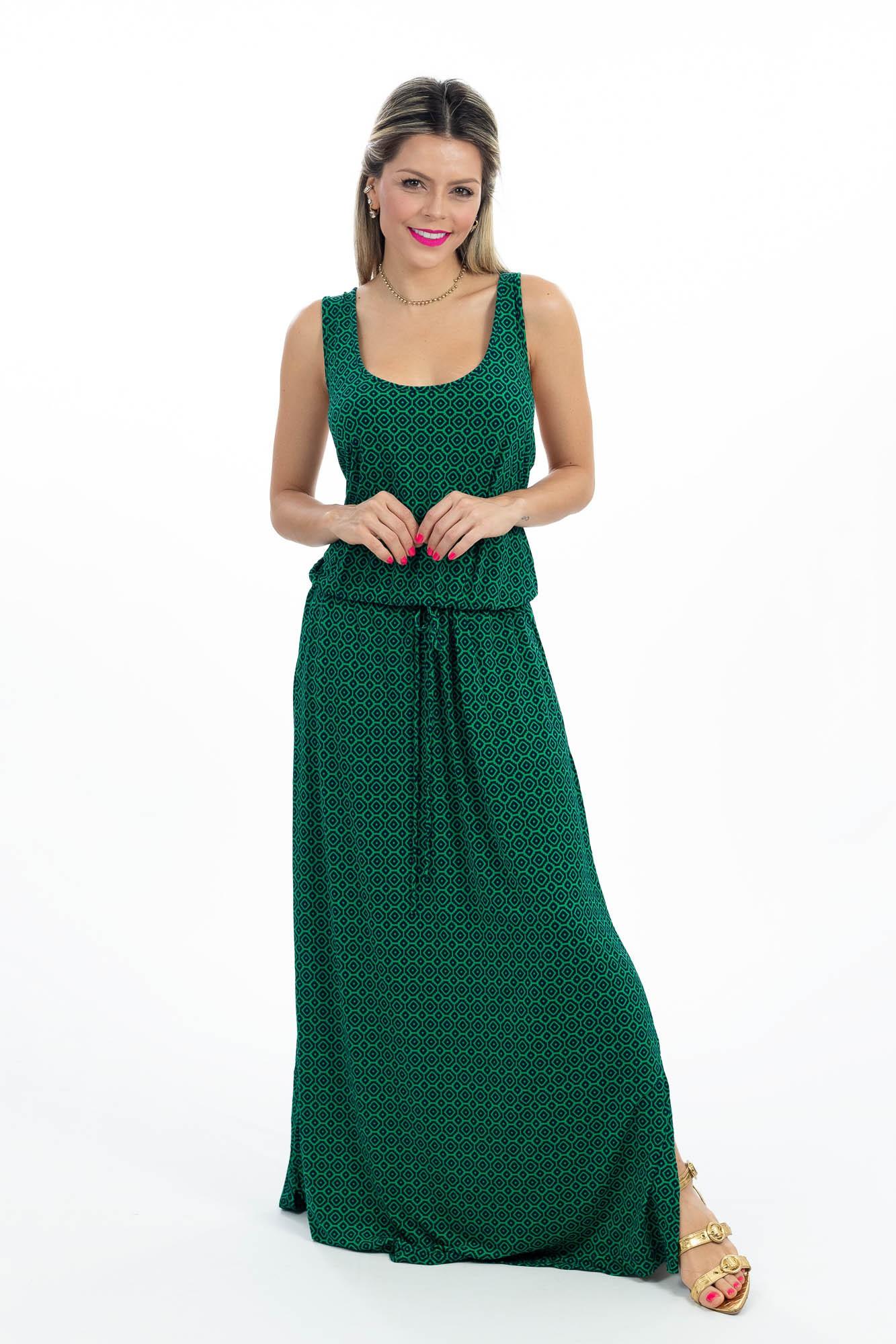 Vestido verde amarração cintura Banana Republic tam GG