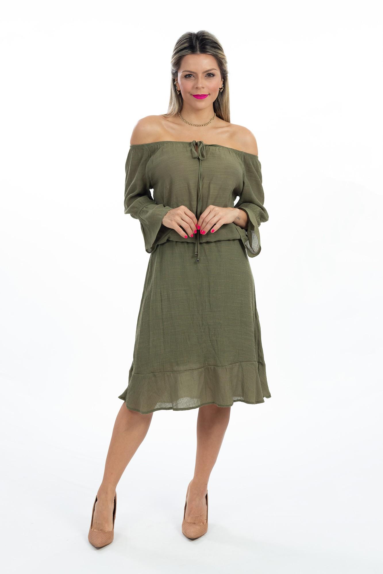 Vestido verde musgo elástico cintura Siberian tam 38