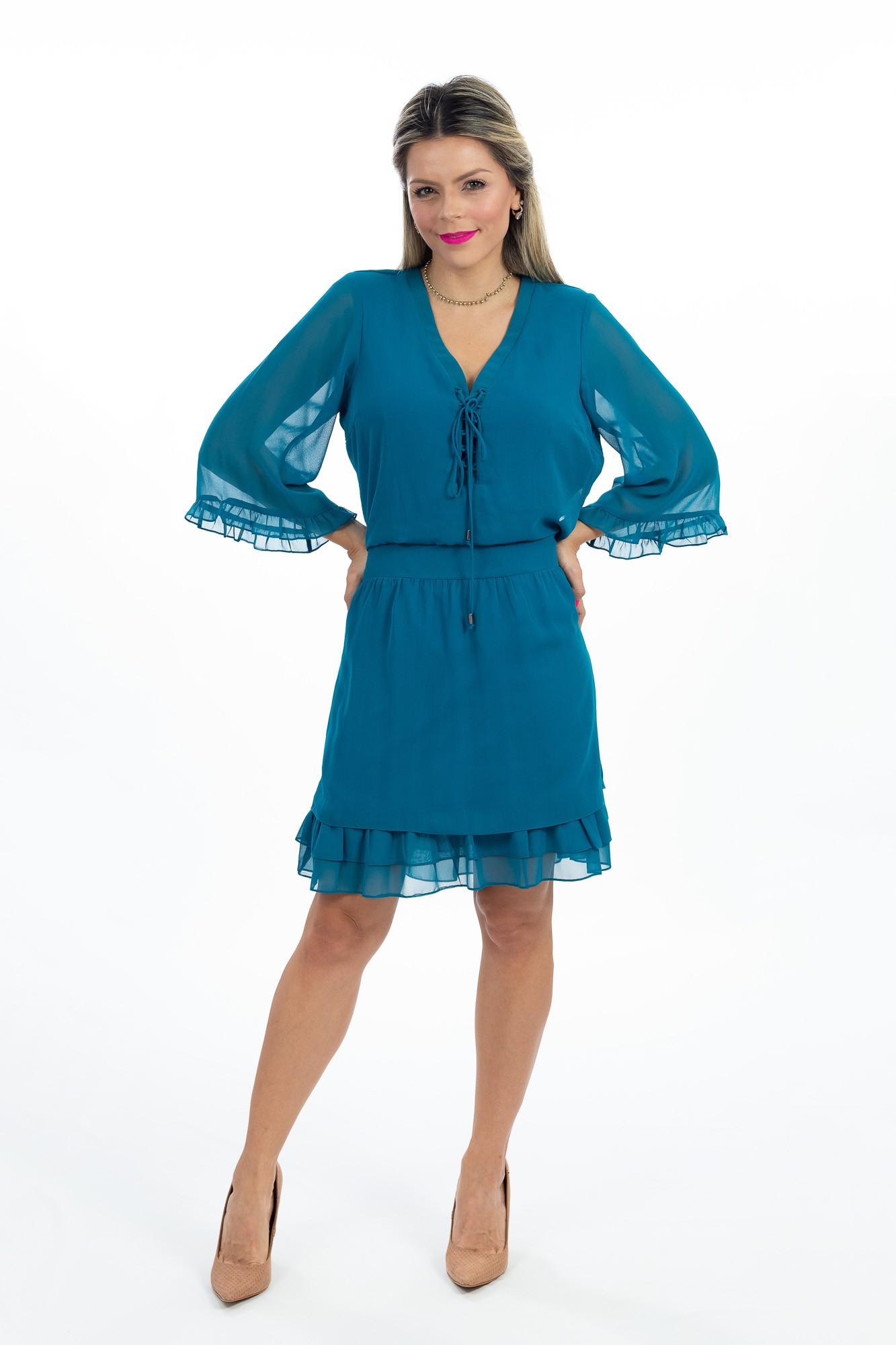 Vestido azul amarração Amissima tam M