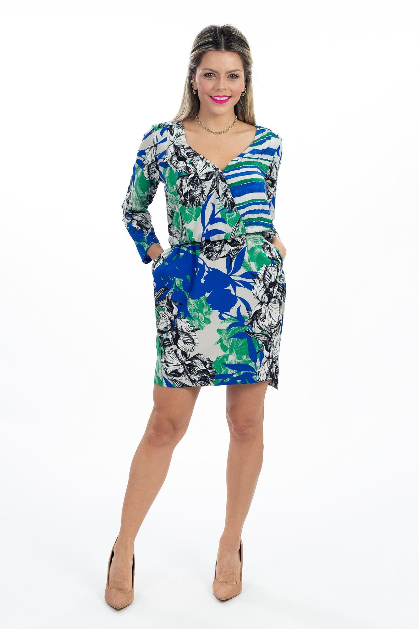 Vestido cinza estampa floral Shoulder tam P