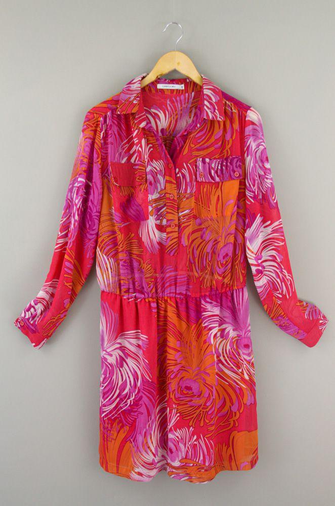 Vestido crepe pink estampa floral Gregory Tam 42
