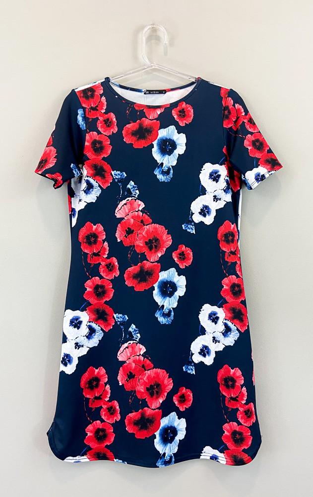 Vestido marinho estampa flores brancas/vermelhas Alk Urban tam P