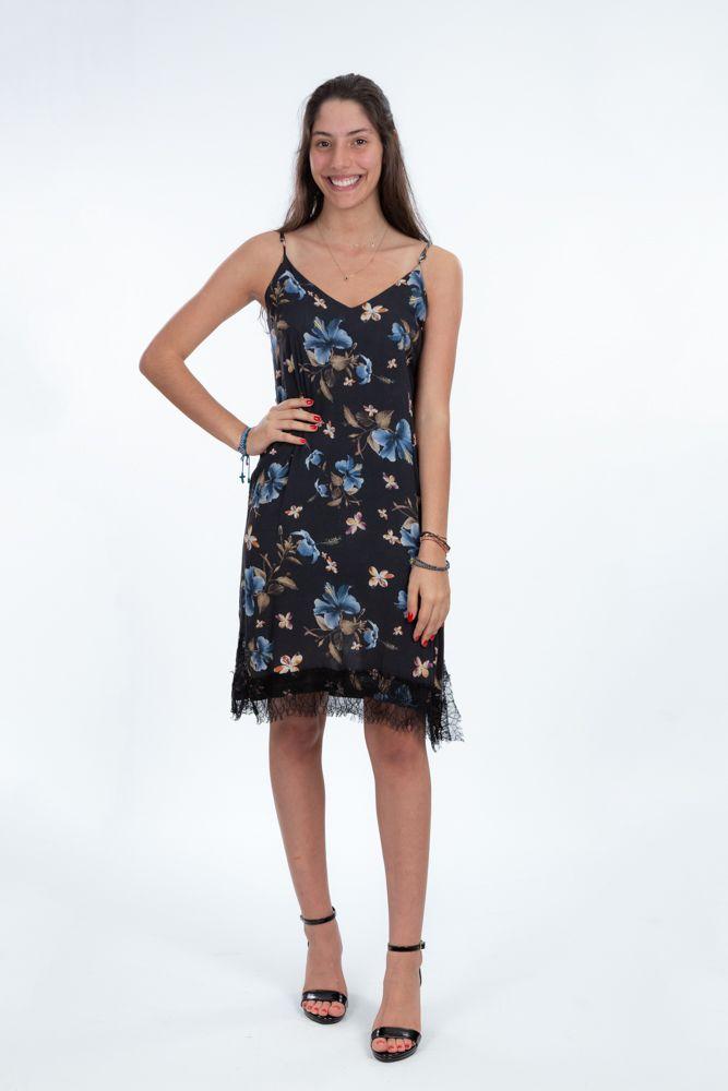 Vestido preto estampa flores azuis detalhe renda preta Ambicione tam P