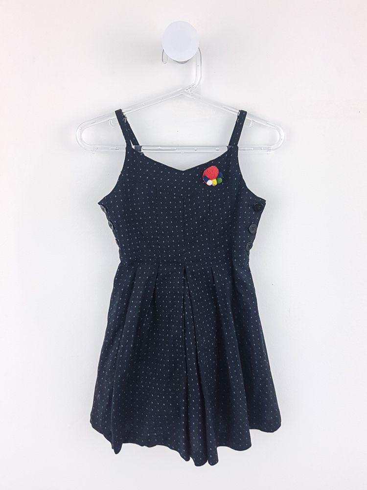 Vestido preto flores lilás botões laterais Tyrol tam 2