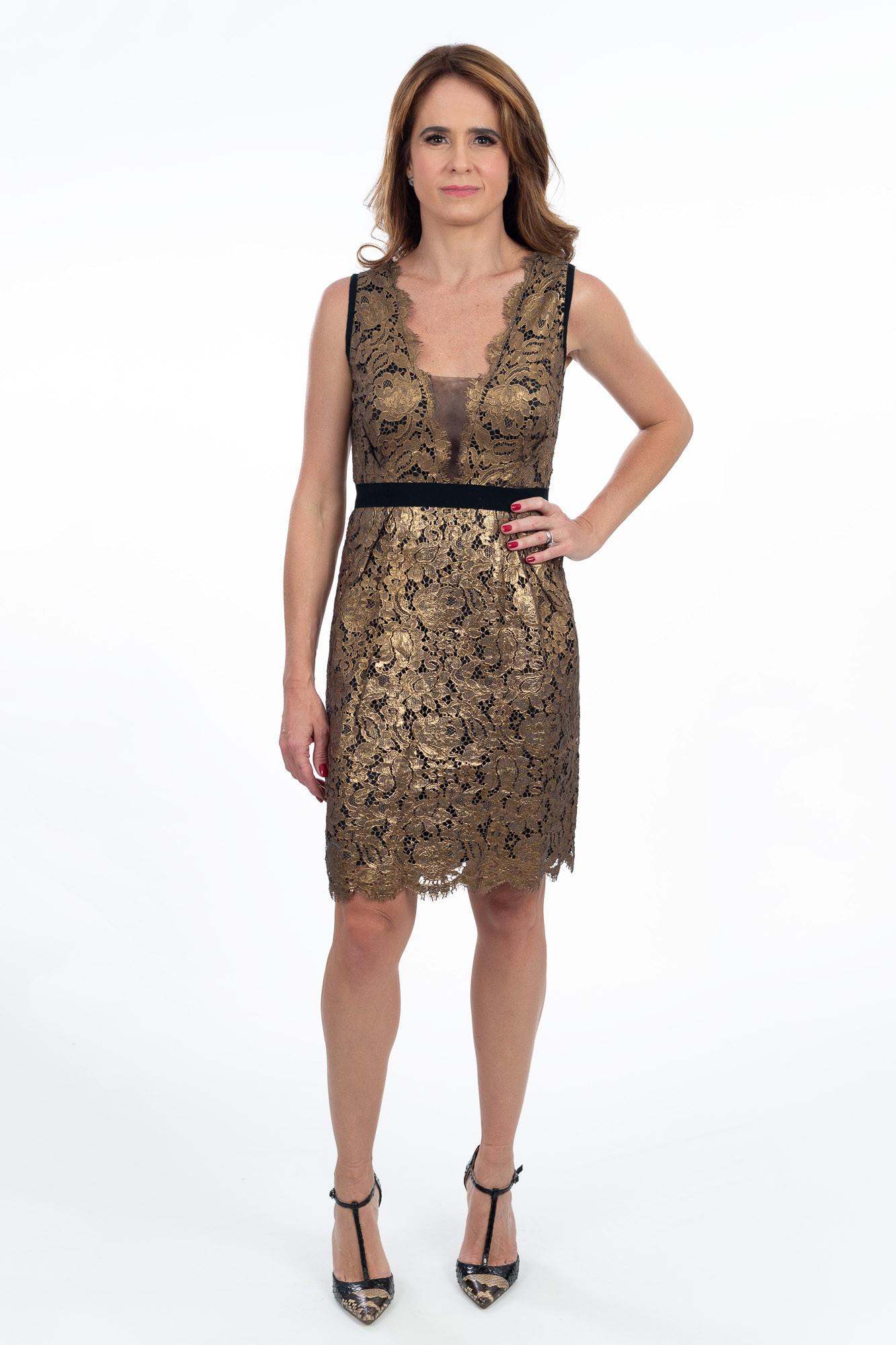 Vestido renda dourado Bárbara Bela Luxo tam 42