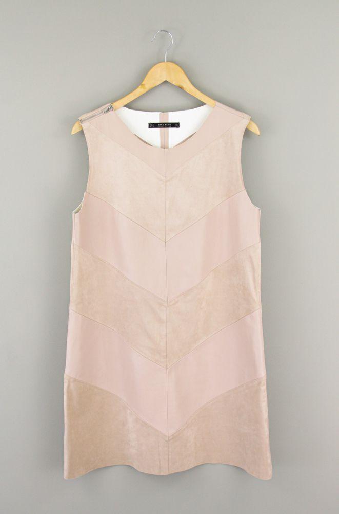 Vestido rosa antigo detalhe corino chamois Zara tam G