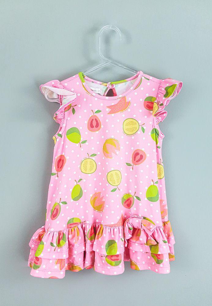 Vestido rosa poá branco estampa frutas Um mais Um tam 12m