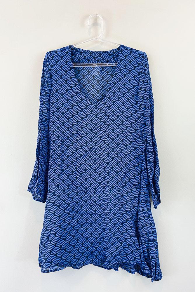 Vestido seda preto estampa azul Totem tam 2