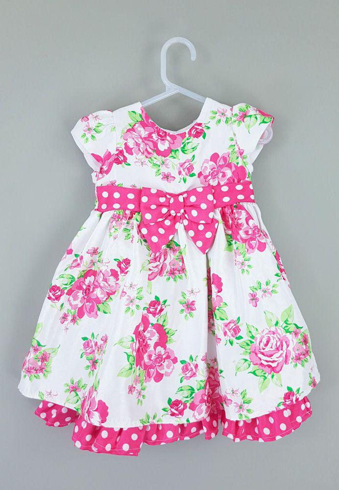 Vestido tafetá branco flores pink Cherokee tam 18m