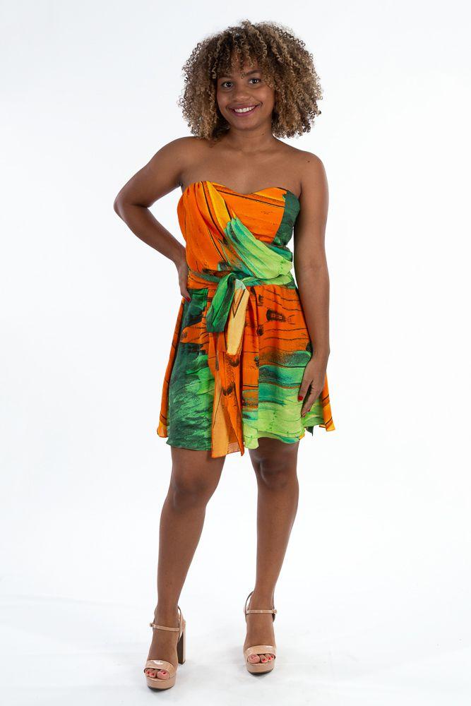 Vestido laranja/verde amarração Farm tam M