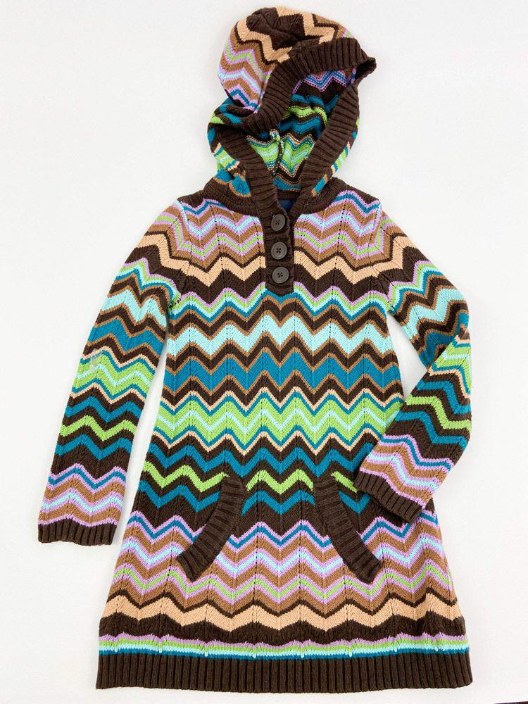 Vestido tricô zig zag verde/roxo/marrom/azul Gap Kids tam 4/5