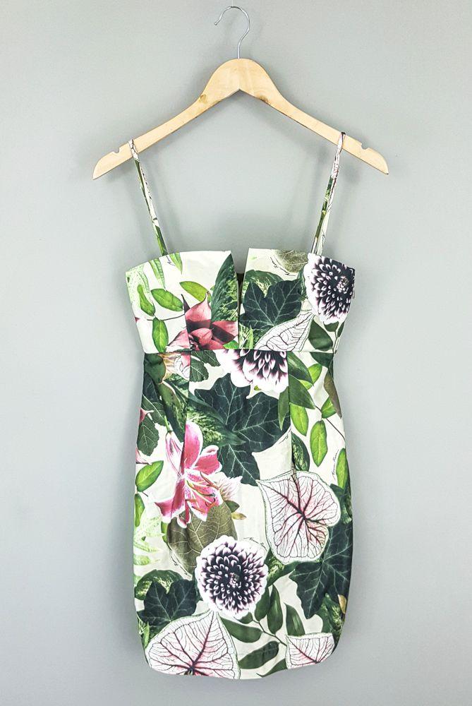 Vestido verde estampa floral Morena Rosa tam P