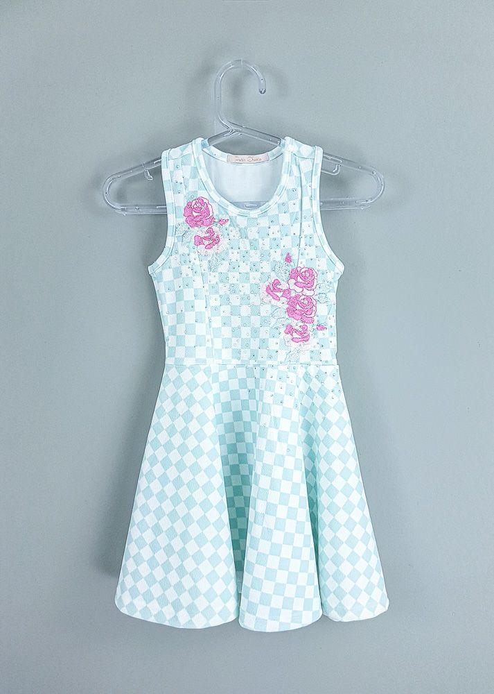 Vestido xadrez branco flores strass Petit Cherie tam 1