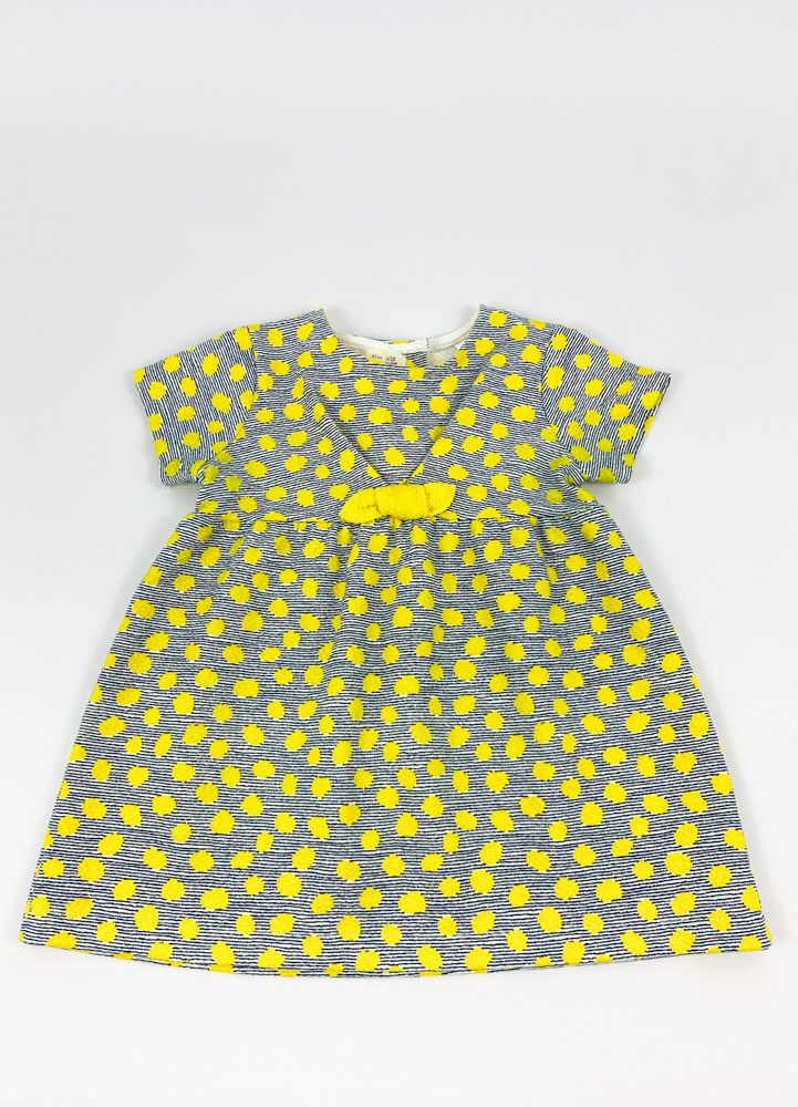 Vestido listradinho marinho bolas amarelas detalhe laço Zara tam 9/12m
