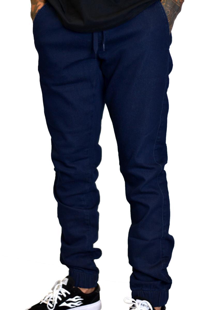 Calça jogger sarja jeans azul escuro banks
