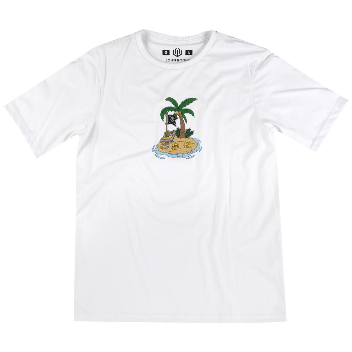 Camiseta John Roger Treasure Island - branca