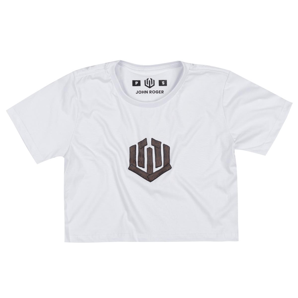 Cropped wood logo - branca