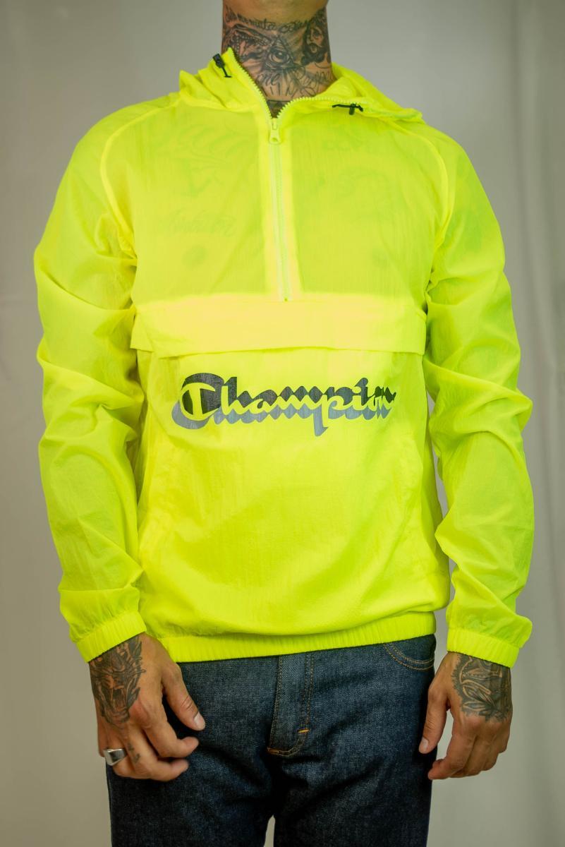 Jaqueta quebra vento logo 3d champion lifeâ® anorak jacket - amarelo neon