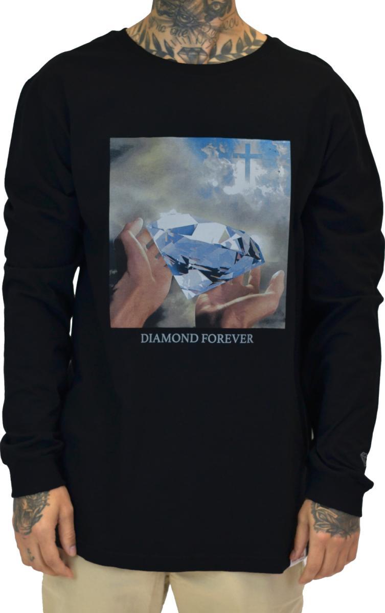 T-shirt diamond forever long sleeve camiseta preta