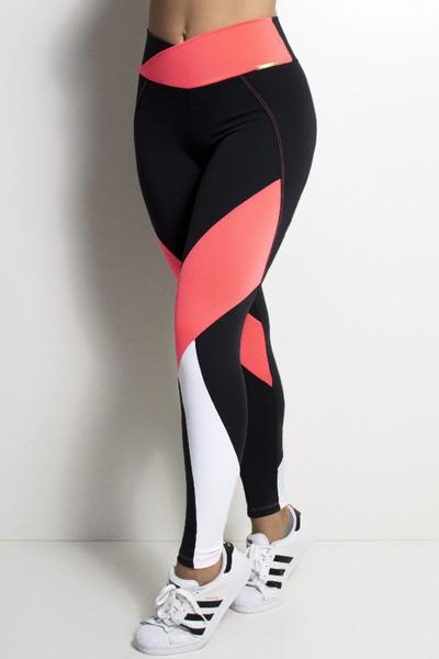 Calça Fitness Feminina Para Academia Tricolor Neon Cós Transpassado