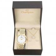 Kit Relógio Champion Dourado Feminino Ch22091w + Brincos E Colar