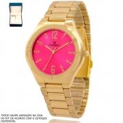 Kit Relógio Champion Feminino Dourado CH22420J Colar + Brincos