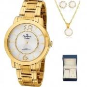 Kit Relógio Champion Feminino Dourado CH24259D