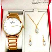 Kit Relógio CHAMPION Feminino Dourado CN25529W