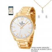Kit Relógio Champion Feminino Dourado CN27670W