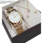 Kit Relógio Champion Feminino Dourado CN29070W