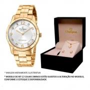 Kit Relógio Champion Feminino Dourado CN29909W