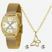 Kit Relógio Feminino Strass Lince LRGH139L KY23C2K