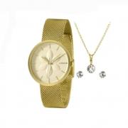 Kit Relógio Lince Dourado Feminino LRGH154L KZ74C1KX