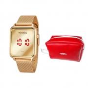 Kit Relógio Mondaine Dourado Digital c/ Necessaire 32171LPMVDE1KE