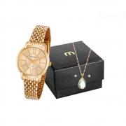Kit Relógio Mondaine Feminino Dourado 53615lpmvde1k1