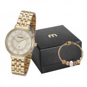 Kit Relógio Mondaine Feminino Dourado 99461Lpmvde1k1