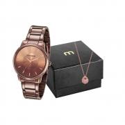 Kit Relógio Mondaine Feminino Marrom 53606LPMVME7K1