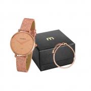 Kit Relógio Mondaine Feminino Rosé Glitter 32211LPMVRH2K1