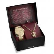 Kit Relógio Seculus Masculino São Jorge + Colar e Medalha 28933GPSKDA1K1