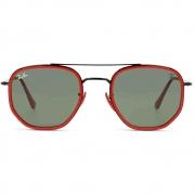 Óculos de Sol Ray Ban Hexagonal Ferrari Preto Vermelho 0RB3748M F0283152